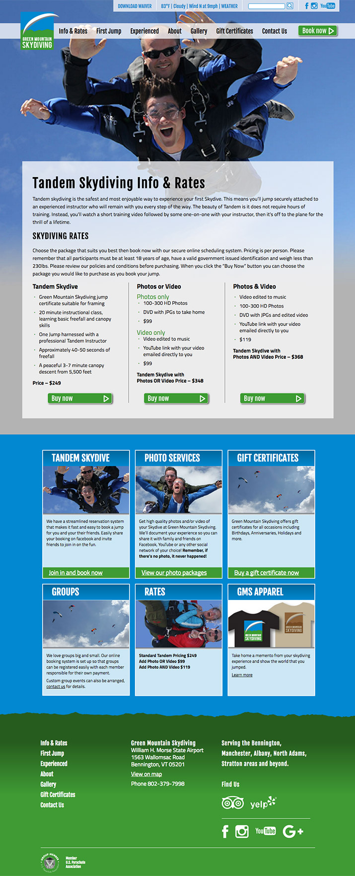 Green Mountain Skydiving – Graphic Design: Interactive, Print